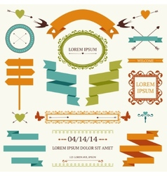 Set of holiday decoration elements vector