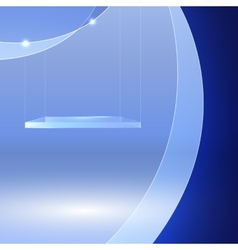 Glass shelf on blue wavy background vector