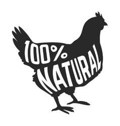 Silhouette of farm hen black with text inside on vector