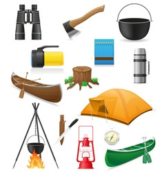 Set icons items for outdoor recreation vector