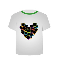 T shirt template- polaroid heart vector