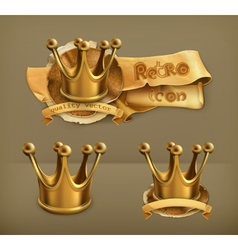 Gold crown icon vector