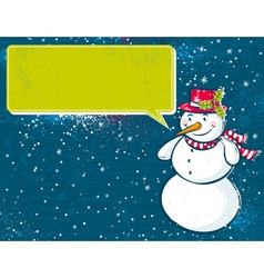 Background with snowman and label for message vector