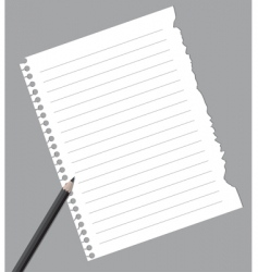 Notebook paper with pencil vector