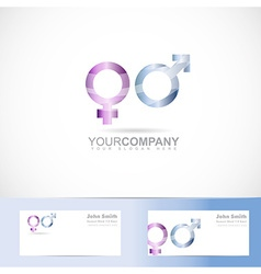 Male female symbol 3d logo vector