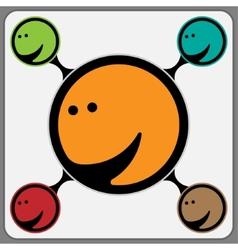 Joyous stylized face in orange vector