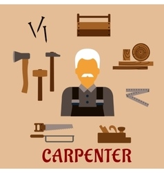 Carpenter with timber and professional tools vector