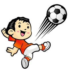 Football player kicking a powerful shot vector