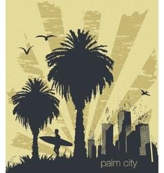 Sunny beach with palm vector