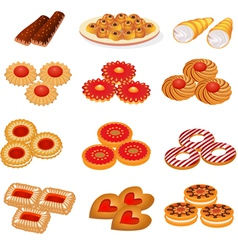 Set tasty sand cookies and cake vector