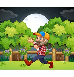 An old lumberjack carrying an axe while walking vector