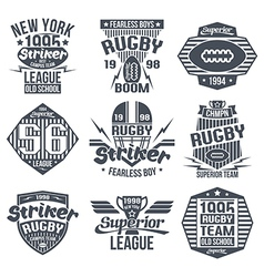 College team rugby retro vintage emblems vector