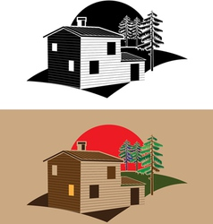 Stylized block house vector