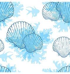 Blue shell pattern vector