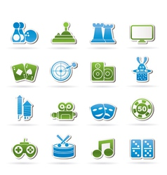 Entertainment objects icons vector