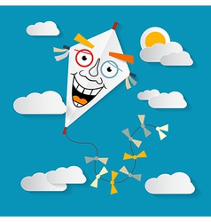 Paper kite on sky with clouds and sun vector