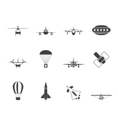 Silhouette aircraft and icons vector