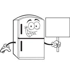 Cartoon refrigerator holding a sign vector