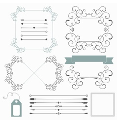 Set of holiday decorative elements in retro style vector