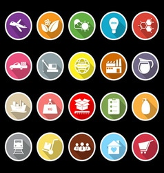 Supply chain and logistic flat icons with long vector