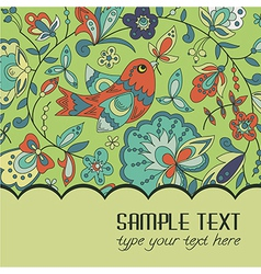 Postcard for text with a bird vector