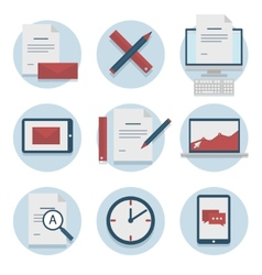 Set of web icons for business flat design finance vector