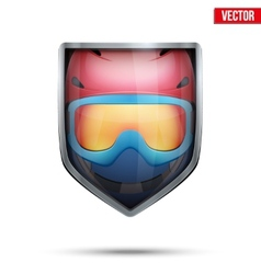 Bright shield in the ski helmet and goggles inside vector