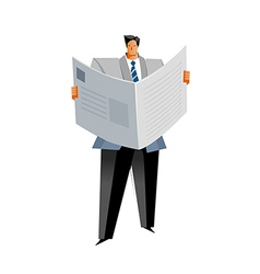 Close-up of man reading newpaper vector