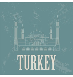 Turkey landmarks retro styled image vector