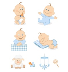 Baby boy with toys vector