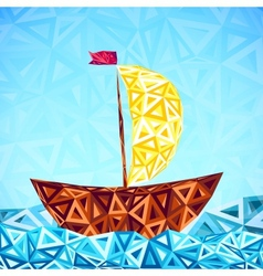 Abstract triangles pattern simple boat vector