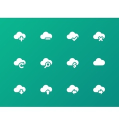 Cloud icons on green background vector