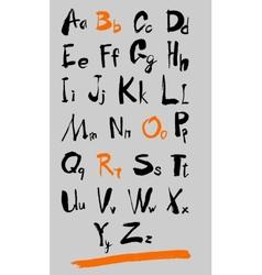 Alphabet and numbers hand drawn in vector