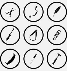 Scissors hand drill feather screwdriver caliper vector