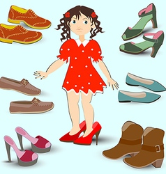 Little girl trying on big shoes a lot of different vector