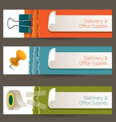 Adhesive tape paperclip pin office banner vector