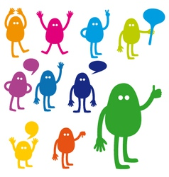 Monster set with hand signs vector