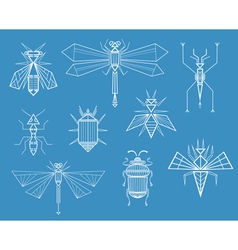 Geometric insects vector