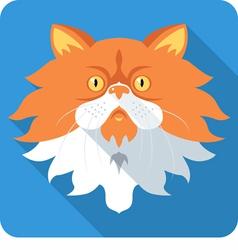 Fluffy persian cat icon flat design vector