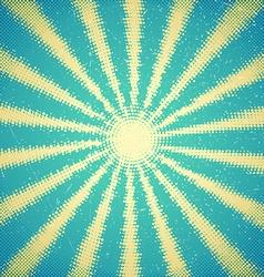 Vintage card with halftone sun rays vector