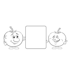 Character tomatoes and poster outline vector