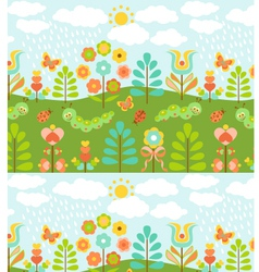Floral background with cute ladybirds vector