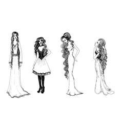 Set of black and white fashionable girls sketches vector