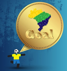Speech gold embroidery goal with soccer player act vector