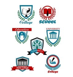 Heraldic emblems for school college university vector