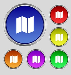 Map icon sign round symbol on bright colourful vector