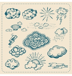 Collection of hand drawn cloud icons vector