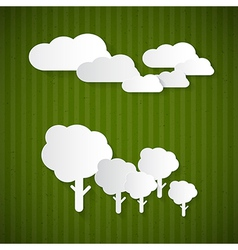 Paper clouds trees on green cardboard vector