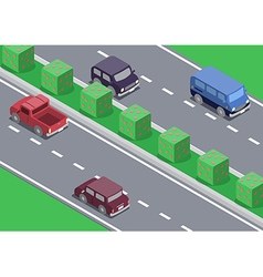 Isometric car on the road vector