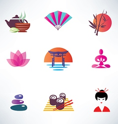 Japanese culture set of icons vector